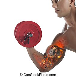 Gear muscles - Muscular man training his arm of gears