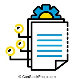 Gear office document icon, outline style