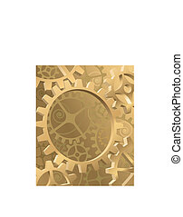 Gear - Old machinery background with gold gears and...