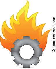 gear on fire illustration design
