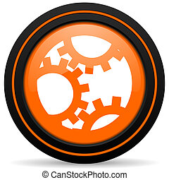 gear orange icon settings sign