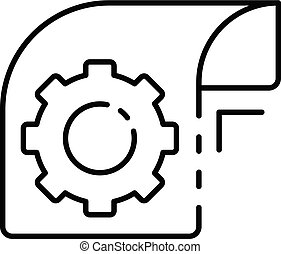 Gear paper icon, outline style
