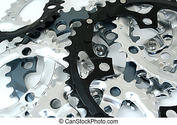 Gear Pile - A messy pile of bicycle gears.