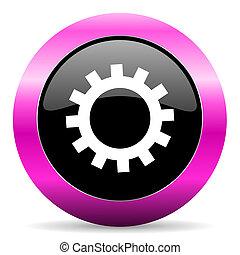 gear pink glossy icon - web glossy pushbutton