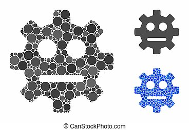 Gear pity smiley mosaic of spheric dots in various sizes and color tinges, based on gear pity smiley icon. Vector dots are grouped into blue mosaic.
