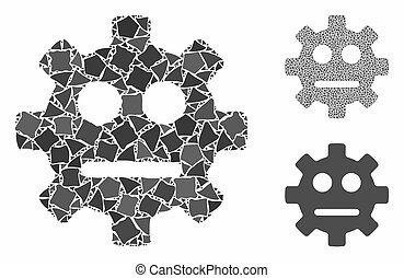 Gear pity smiley composition of uneven parts in variable sizes and color tones, based on gear pity smiley icon. Vector tuberous parts are united into composition.