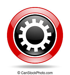 gear red and black web glossy round icon