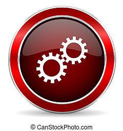 gear red circle glossy web icon, round button with metallic border