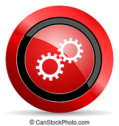 gear red glossy web icon