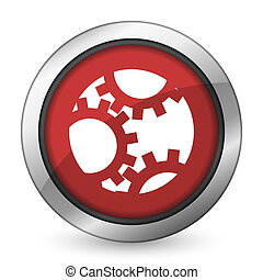 gear red icon settings sign