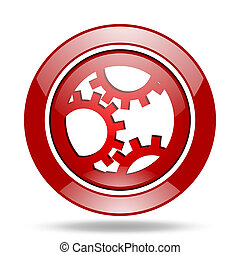 gear red web glossy round icon