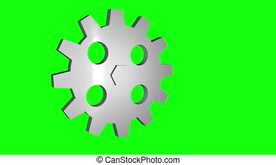 gear rotating loop green screen