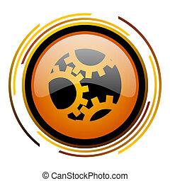 gear round design orange glossy web icon
