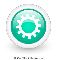 gear round glossy web icon on white background