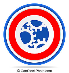Gear round icon, red, blue and white french design illustration for web, internet and mobile applications