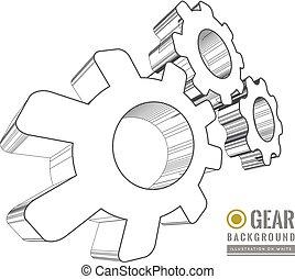 Gear schematic vector illustration