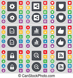 Gear, Share, Badge, Graph file, Diagram, Like, Lock, Minus, RSS icon symbol. A large set of flat, colored buttons for your design.
