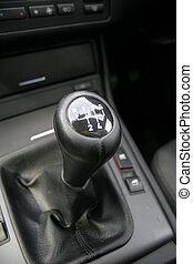 Gear shift - Close-up of a sport car gear shifter