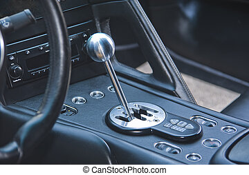Gear shift lever in exotic Italian sportscar