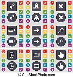 Gear, Ship, Stop, Cassette, Arrow right, Magnifying glass, SMS, Microwave, Hand icon symbol. A large set of flat, colored buttons for your design. Vector
