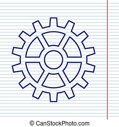 Gear sign. Vector. Navy line icon on notebook paper as background with red line for field.