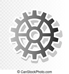 Gear sign. Vector. New year blackish icon on transparent background with transition.