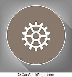 Gear sign. Vector. White icon on brown circle with white contour and long shadow at gray background. Like top view on postament.
