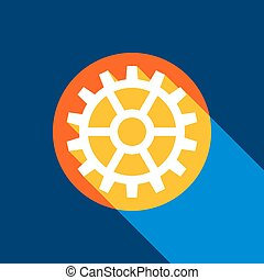 Gear sign. Vector. White icon on tangelo circle with infinite shadow of light at cool black background. Selective yellow and bright navy blue are produced.