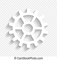 Gear sign. Vector. White icon with soft shadow on transparent background.