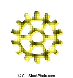 Gear sign. Vector. Yellow icon with square pattern duplicate at