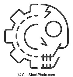 Gear skull icon, outline style