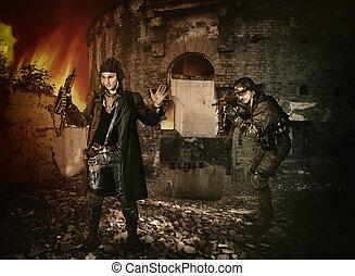 gear., soldados, concept., cheio, guerra