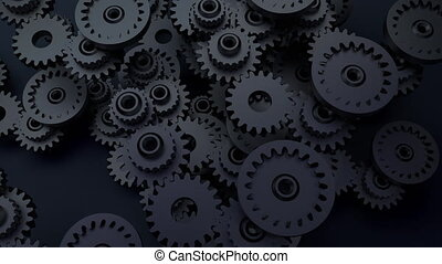 Gear system animation. Motion design of seamless loop cogs...