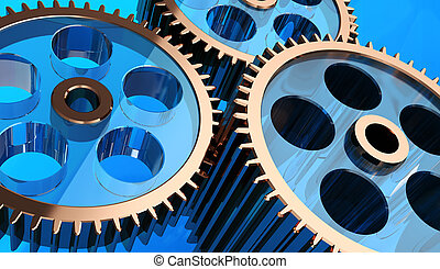 Gear system - Close-up 3d of gears system over blue ...