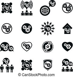 Gear system power development and progress theme unusual icons set, vector collection of special business and industrial symbols.