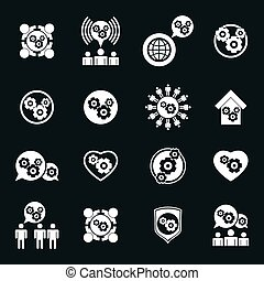 Gear system power icons set