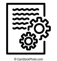 Gear system report icon, outline style