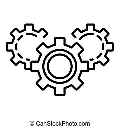 Gear teamwork icon, outline style