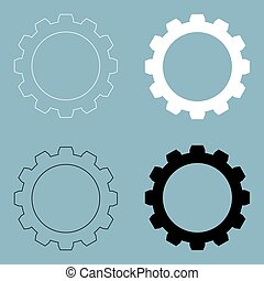 Gear the black and white color icon .