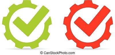Gear tick abstract vector icon