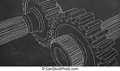 Hand drawing on blackboard and animated gear transmission.