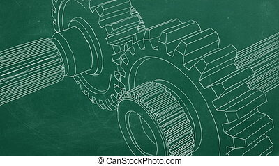 Gear transmission - Hand drawing on greenboard and animated ...