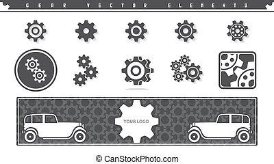 Gear vector elements set