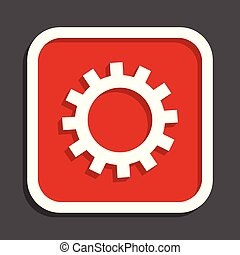 Gear vector icon. Flat design square internet red button.