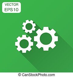 Gear vector icon in flat style. Cog wheel illustration with long shadow. Gearwheel cogwheel business concept.