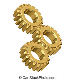 Gear. Vector illustration. Isolated on white