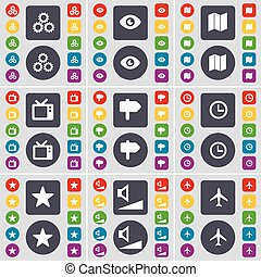 Gear, Vision, Map, Retro TV, Signpost, Clock, Star, Volume, Ariplane icon symbol. A large set of flat, colored buttons for your design. Vector