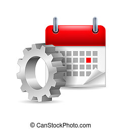 Gear wheel and calendar with marked day
