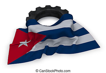 gear wheel and flag of cuba - 3d rendering