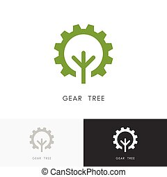 Gear wheel and tree logo